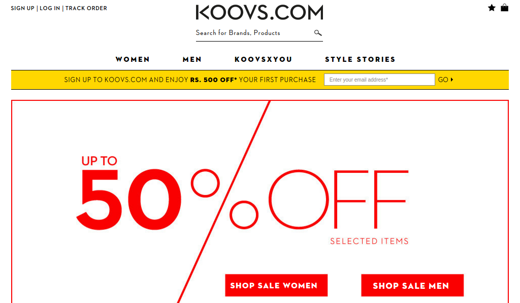 Koovs Online Shopping Websites in India
