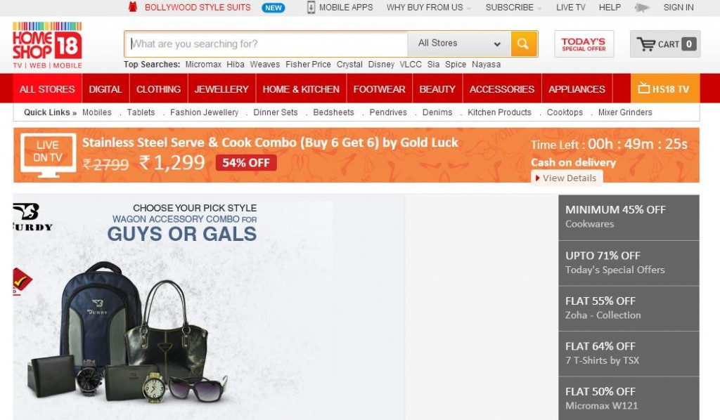 homeshop18 Online Shopping Websites in India